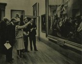 Fig.1 The King and Queen examining John Singleton Copley's painting The Death of Major Peirson, 6 January 1781 1783 at the Tate Gallery exhibition American Painting in 1946