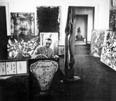 Fig.1 Michel Tapié at Galerie Rive Droite, Paris, 1954, with artworks for the Individualités d'aujourd'hui exhibition