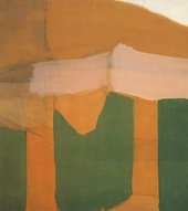Fig.1 Water 1961, by James Bishop, an abstract painting in green, orange, pale pink and beige