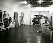 Fig.22 Sam Francis's studio on Broadway in New York, 1962 or 1963, with the reworked version of Around the Blues (far wall), Emblem (Two Worlds) (left) and Blue Balls VII 1962 (second from left)