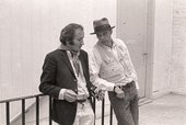 Richard Demarco (left) and Joseph Beuys at the Edinburgh College of Art during the installation of Beuys's <em>The Pack</em> 1969 (Das Rudel) for <em>Strategy: Get Arts</em>, August 1970