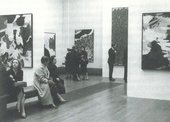Fig.25 Installation view of The New American Painting, Tate Gallery, February – March 1959, with Sam Francis's Composition in Blue and Black 1954–5 (centre left; private collection) and Big Red 1953 (centre right; Museum of Modern Art, New York)