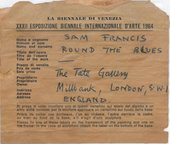 Fig.26 Shipping label for the 1964 Venice Biennale that was found attached to the stretcher of Around the Blues