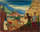 Landscape painting with men in the foreground flying green kites on hilltops overlooking slum areas on the edges of Caracas