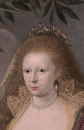 Fig.2 Detail of the head in Portrait of a Lady, Called Elizabeth, Lady Tanfield 1615