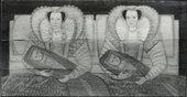 Fig.2 Front of The Cholmondeley Ladies photographed in black and white with raking light from the top to show the arrangement and warping of the boards