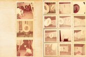 Yellowed pages from a photograph album, with 15 square photographs, faded with age