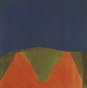 Fig.2 News from Ferrara 1963, by James Bishop, an abstract painting in dark blue, orange and green