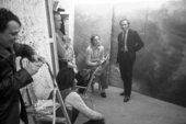 Fig.2 Günther Uecker (left) and Richard Demarco (standing, centre right) at a meeting in the studio of Gerhard Richter in Düsseldorf on 29 January 1970, during preparations for the exhibition Strategy: Get Arts at the Edinburgh College of Art