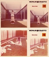 Two pairs of duplicated photos printed with the Kodak logo, faded with age. In the first Roberto Chabet does a headstand; in the second he is shown ripping pages from a book