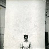 Fig.36 Rachel Jacobs in Sam Francis's studio on rue Tiphaine, Paris, c.1953, standing in front of Grey (in progress) 1954, 1955 (The Broad, Los Angeles)