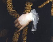 Fig.3 Detail of the sitter's left hand and gold-braided robe