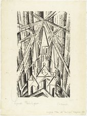 Fig.3 Lyonel Feininger Cathedral (Kathedrale) for Programme of the State Bauhaus in Weimar 1919