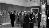 Fig.3 General Franco (third from the left) at an exhibition organised in conjunction with the Bienal Hispanoamericana de Arte 1955 in Barcelona