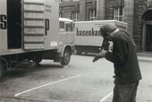 Fig.3 George Oliver photographing the arrival of artworks for the Strategy: Get Arts exhibition at the Edinburgh College of Art, 23 August – 12 September 1970
