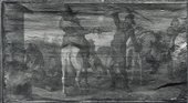 Fig.4 The Combat of Hudibras and Cerdon photographed in raking light from the top in black and white