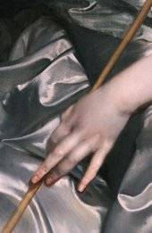 Fig.4  Detail of the sitter's left hand, drapery and the staff of the 'spud'