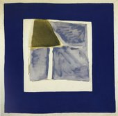 Fig.4 Hours 1963 by James Bishop, an abstract painting in dark blue, green and bare canvas and