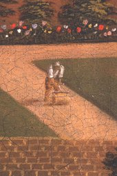 Fig.5 Detail of a gardener rolling a pathway. Small details were added on top of larger and dark tones before lighter