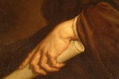 Fig.5 Detail of hand and scroll, showing brown underpaint left visible as the shadows and outlines