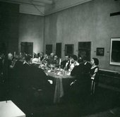 Fig.5 Peggy Guggenheim and guests at the dinner for The Peggy Guggenheim Collection, Tate Gallery, 6 January 1965