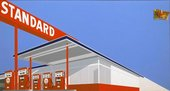 Fig.5 Painting by Ed Ruscha featuring a ground-up view of a gas station against a bright blue sky