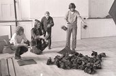 Fig.5 Reiner Ruthenbeck (third left) with Alexander Hamilton (second left) and unidentified Edinburgh College of Art student assistants during installation of Ruthenbeck's work for Strategy: Get Arts at the Edinburgh College of Art, 1970