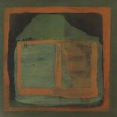 Fig.5 Untitled 1962 by James Bishop, a square abstract painting in dark greens and orange