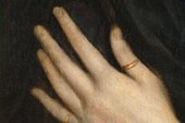 Fig.6 Detail of the sitter's left hand and the thumb ring