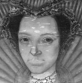 Fig.6 Infrared reflectograph detail of the face of the woman on the left