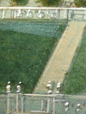 Fig.6 Detail of the garden with pencil lines incised into the wet paint Tate