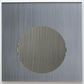 A square bas relief, comprised of a sequence of thin vertical coloured bands and fine raised polished stainless steel plates. Positioned slightly below the mid-point of the composition is a large floating circle.