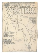 Fig.6 Pencil sketch on tracing paper by Ed Ruscha, copying the cover of an issue of Popular Western comic book featuring a sheriff with star badge and gun in hand