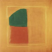 Fig.6 Untitled 1962–3, by James Bishop, a square abstract painting in oranges and dark green