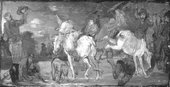 Fig.7 Infrared reflectograph of Hudibras's First Encounter with the Bear-Baiters