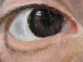Fig.7 Close-up detail of her right eye, showing wet-in-wet addition of blue paint into the white of the eye-ball to create the receding half-shadow. It shows also the first position of the iris and pupil