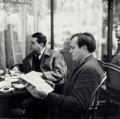 Fig.7 Sam Francis and Georges Duthuit at a café in Paris, c.1952–3