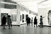 Photograph of the private view of 54–64: Painting and Sculpture of a Decade, 22 April – 28 June 1964, Tate Gallery, London