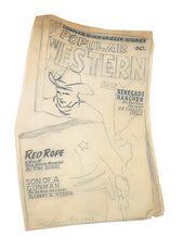 Fig.7 Pencil sketch by Ed Ruscha, of an issue of Popular Western comic book, ripped in half horizontally