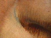 Fig.8 Detail at x8 magnification of the nose, showing undrawing visible through the overlying paint