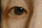 Fig.8 Detail of the sitter's right eye, showing translucent reddish brown painted outlines