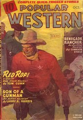 Fig.8 Full colour original cover of the Popular Western comic book which Ed Ruscha copied, featuring sheriff in red shirt and cowboy hat, with yellow neckerchief and gold star badge