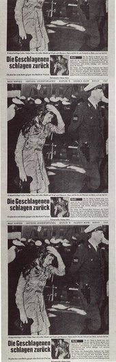 Photographic screenprint featuring the headline of a German student newspaper and the image of a female student whose hand is held to her head in an attempt to stem the blood pouring from her open wound