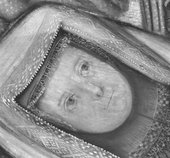 Fig.9 Infrared reflectograph detail of the face of the baby on the right