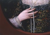 Fig.9 Detail of the hand and bodice, showing black drawing in the hands