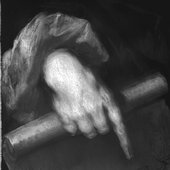 Fig.9 Infrared reflectograph detail of the sitter's right hand