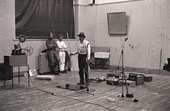 Fig.9 Beuys performing Celtic (Kinloch Rannoch) Scottish Symphony, with Christiansen behind (right), for the exhibition Strategy: Get Arts at the Edinburgh College of Art, 23–30 August 1970