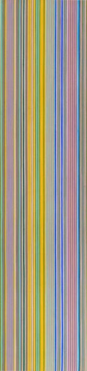 Abstract painting on a tall, narrow canvas featuring a series of thin vertical stripes