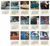 Fig.9 A selection of pages from a calendar made by artist Joe Goode, with each monthly page featuring a photograph of an artist in their car