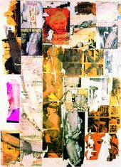 Décollage piece featuring multiple magazine and newspaper images of Marilyn Monroe